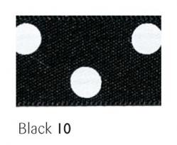 Black 15mm polka dot ribbon - 20 meter reel