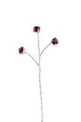 6 x Rose Quartz Diamonte branches - Silver Wire