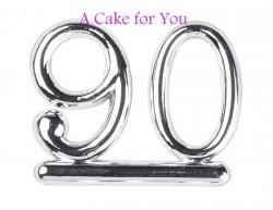 Plastic Silver 90 Cake Topper