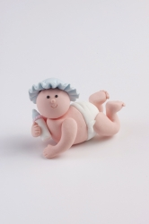 Claydough baby with blue hat - 54mm