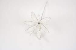 White pearl & Iridescent Flower - 90mm