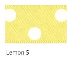 Lemon 15mm polka dot ribbon - 20 meter