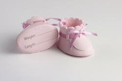 claydough pink booties - 62mm