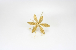 Pear & Iridescent Flower - Gold - 90mm