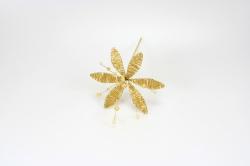 Pear & Iridescent Flower - Gold - 90mm