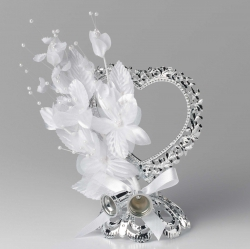 Ornament Silver heart with white flowers - 140mm