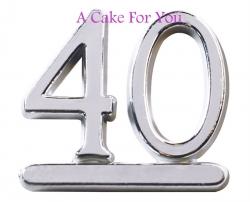 Plastic silver 40 Cake Topper