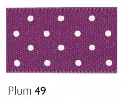 Plum15mm micro dot ribbon - 20 meter reel