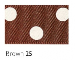 brown 25mm polka dot ribbon - 20 meter reel