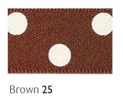 brown 25mm polka dot ribbon - 20 meter reel