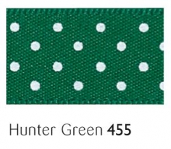 Hunter Green 15mm  micro dot ribbon - 20 meter reel