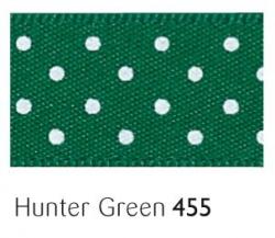 Hunter Green 15mm  micro dot ribbon - 20 meter reel