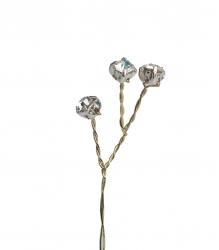 6 x Diamonte branches - gold wire 140mm