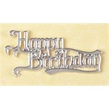 Silver Coloured Happy Birthday Motto