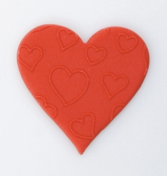 Red Embossed Love heart - 38mm