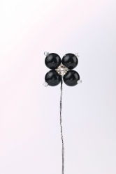 12 x Black pearl flower bud with diamonte