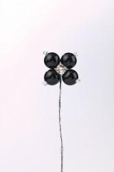 12 x Black pearl flower bud with diamonte