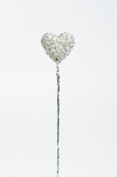 6 x Silver Wavy heart on a wire - 24mm