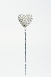 6 x Silver Wavy heart on a wire - 24mm