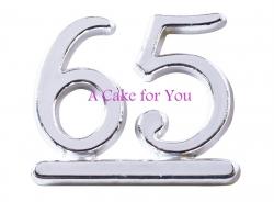 Plastic Silver 65 Cake Topper