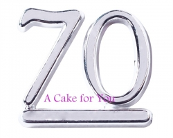 Plastic Silver 70 Number Cake Topper