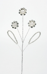 Pearl & Diamonte Flower Spray - 60mm