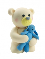 Claydough teddy Bear with blue Rabbit 76mm