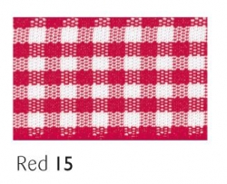 Red gingham 15mm ribbon - 20 meter reel