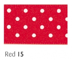Red 15mm micro dot ribbon - 20 meter reel