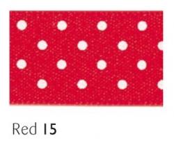 Red 15mm micro dot ribbon - 20 meter reel