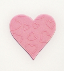Pink Embossed love heart - 30mm