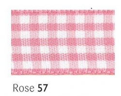 Rose gingham 15mm ribbon - 20 meter reel