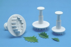 PME Large 3 Set Veined Holly Leaf Plunger