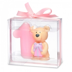 Teddy Candle- Number 1 Pink