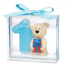 Teddy Candle- Number 1 Blue