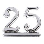 Plastic Silver Colour Numeral '25'