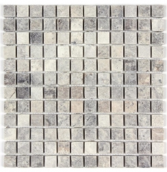 Mosaic, Silver Travertine Tumbled