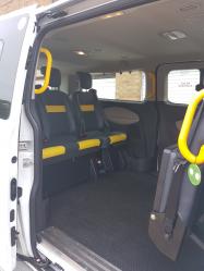 The interior of the van