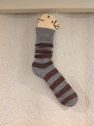 Alpaca Socks Brown & Grey Stripy 8-10
