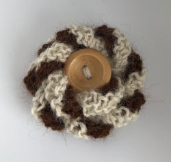 White & Brown Alpaca Flower Brooch