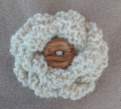 White Alpaca Flower Brooch