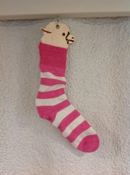Alpaca Socks Pink & Ivory Stripy 4-7