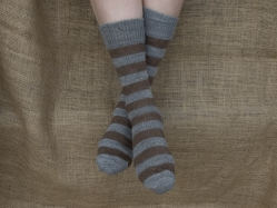 Alpaca Socks - Grey & Brown Stripy 8-10