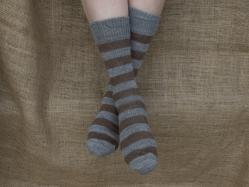 Alpaca Socks - Grey & Brown Stripy 8-10