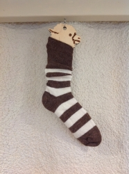 Alpaca Socks - Brown & Ivory Stripy 11-13