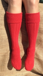 Alpaca Welly Socks Red 4-7