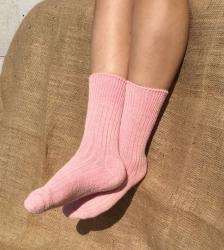 Alpaca Short Boot Socks Pink 4-7
