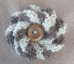 Grey & White Alpaca Flower Brooch