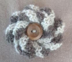Grey & White Alpaca Flower Brooch