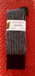 Alpaca Socks Black & Grey Vertical Stripe 8-10
